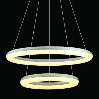 lampa wisząca led do nowoczesnego salonu białe okręgi