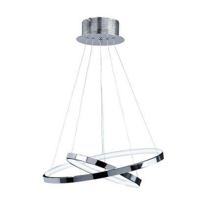lampa wisząca led ringi srebrna