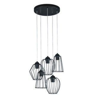 lampa wisząca na 5 żarówek - druciane abażury