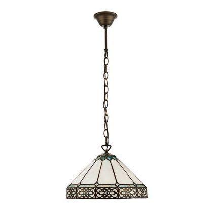 lampa wisząca na łańcuchu witrażowy klosz do salonu
