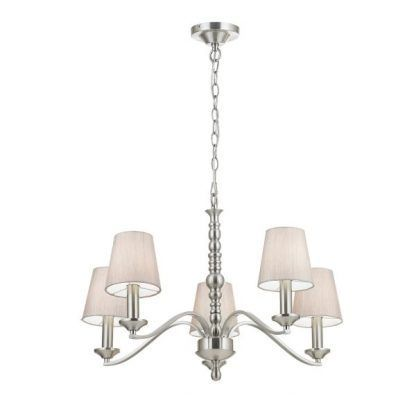 Lampa wisząca na srebrnym łańcuchu z pięcioma abażurami