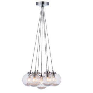 lampa wisząca na stalowych linkach - szklane srebrne kule - 6 żarówek