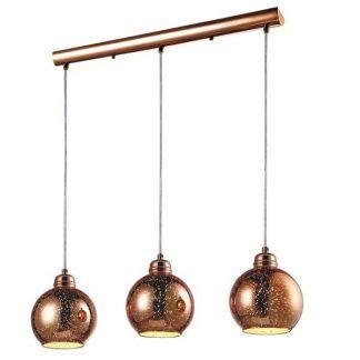lampa wisząca na szynie z 3 szklanymi kulami w kolorze miedzi