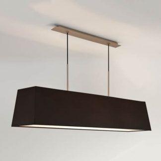lampa wisząca nad stół z czarnym abażurem podłużna