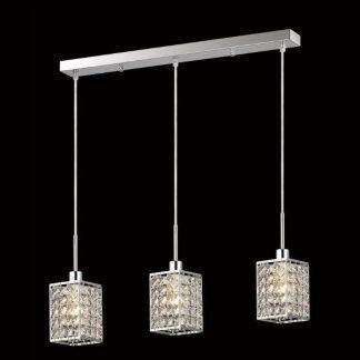 lampa wisząca nad stół z kryształowymi kloszami