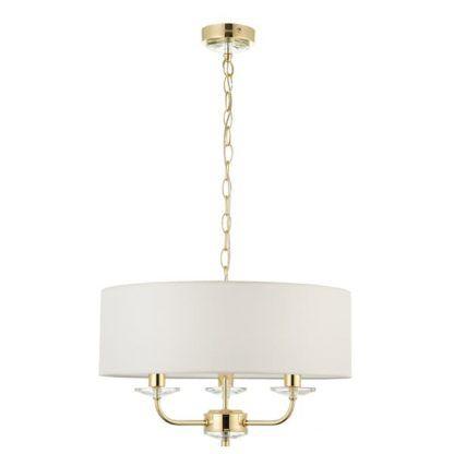 nixon złota lampa wisząca z białym abażurem