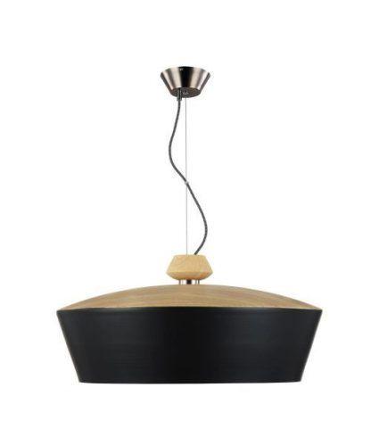 lampa wiszaca nowoczesna z szerokim kloszem i drewnianym wyk
