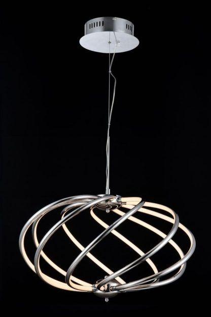 Lampa wisząca o ciekawym spiralnym kształcie