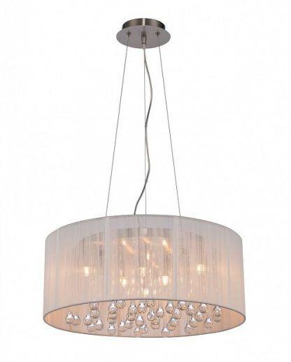 lampa wiszaca okragła materiałowa z kryształowymi kulkami