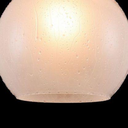 lampa wisząca okrągła szklana biała kula z kroplami wody