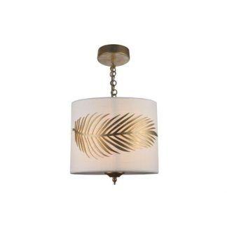 Lampa wisząca ozdobiona złotymi liśćmi - biała
