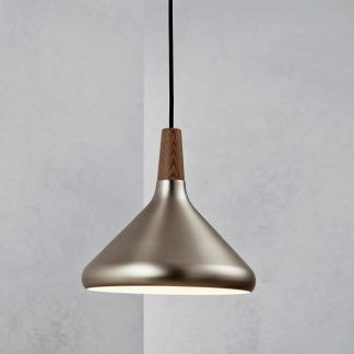 lampa wisząca stalowa z drewnianym zwisem