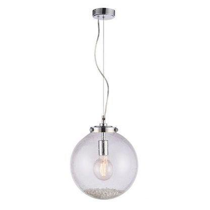 lampa wisząca szklana kula z kryształkami w środku