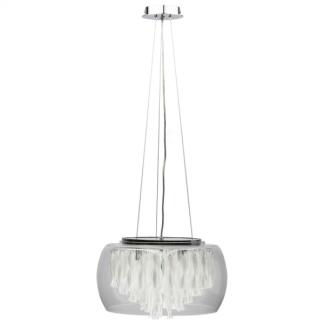lampa wisząca szklana ze srebrnymi linkami - kryształy