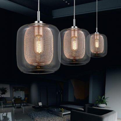 lampa wisząca szklano miedziana z siatką w środku