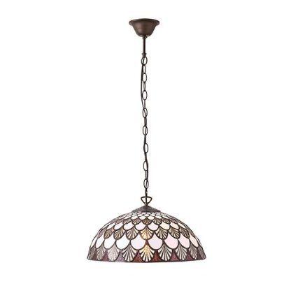 Lampa wisząca Tiffany z kloszem z białymi elementami
