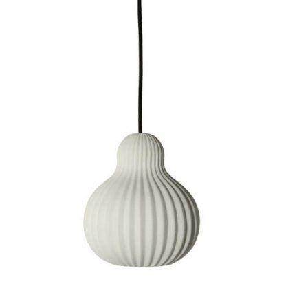 lampa wisząca w kształcie gruszki - biała z czarnym kablem