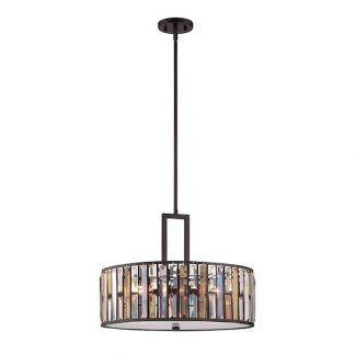 lampa wisząca w stylu art deco - brązowa z kryształami