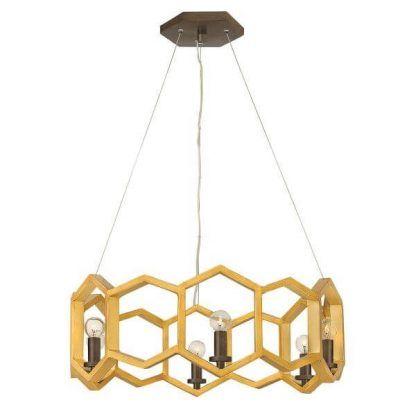 Lampa wisząca w złote sześciany do sypialni