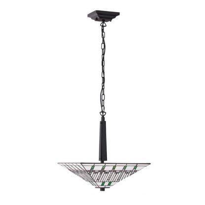 Lampa wisząca witrażowa Tiffany z białym kloszem w stożek