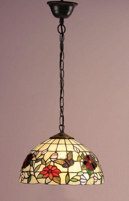 lampa wisząca witrażowy klosz motyw florystyczny