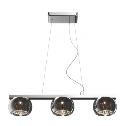 lampa wisząca z 3 kloszami kulami - szklana i kryształowa