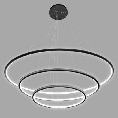 lampa wisząca z 3 ringami led czarne wykończenie
