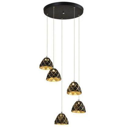 lampa wisząca z 5 kloszami brązowymi i złotymi detalami