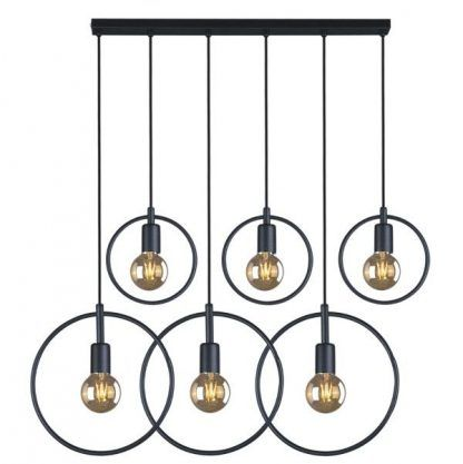 lampa wisząca z 6 żarówkami - lama retro z drutów