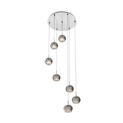 lampa wisząca z 7 kulami małymi kryształowymi