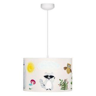 Lampa wisząca z abażurem w leśne zwierzątka