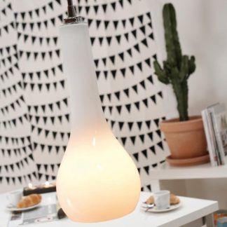 lampa wisząca z białego szkła aranżacja jadalnia