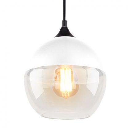 lampa wisząca z białym szklanym kloszem