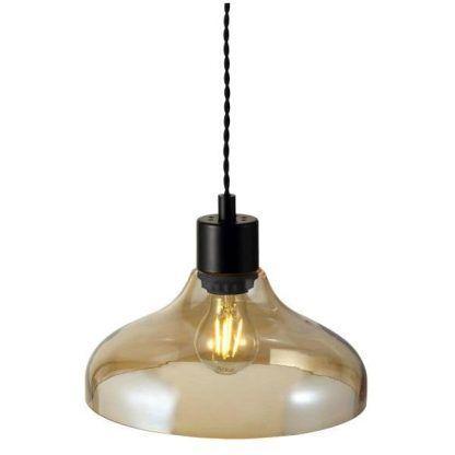 lampa wisząca z bursztynowego szkła z czarnym trzonkiem