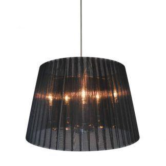 lampa wisząca z cienkim czarnym abażurem