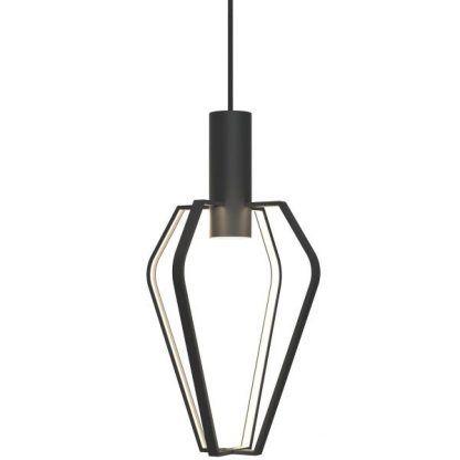 lampa wisząca z czarnych prętów moduł LED
