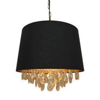 lampa wisząca z czarnym abażurem i kryształkami