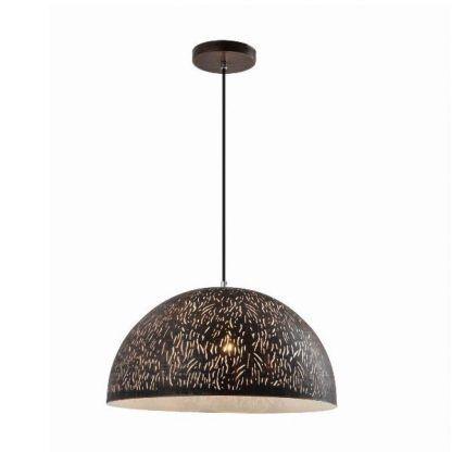 lampa wisząca z czarnym szerokim kloszem