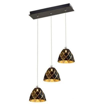 lampa wisząca z czarnymi kloszami złotymi w środku