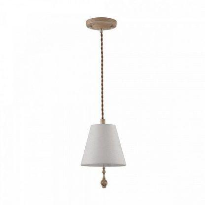 lampa wisząca z drewnianą podsufitką rustykalna
