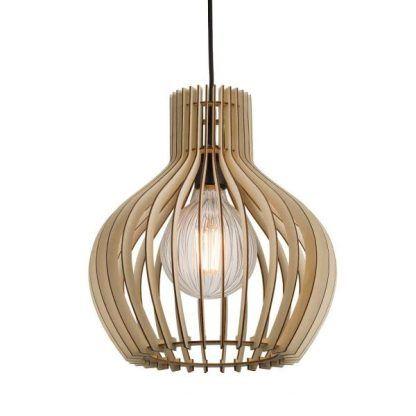 lampa wisząca z drewnianych listewek - ażurowa