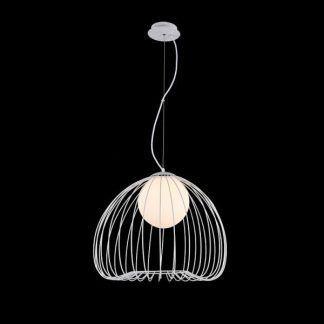 lampa wisząca z drucianym abażurem - żarówka kula