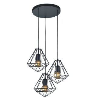 lampa wisząca z drucianymi kloszami czarna
