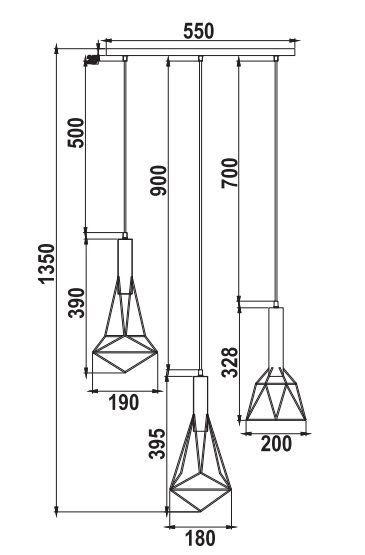 lampa wisząca z drucianymi kloszami styl scandi