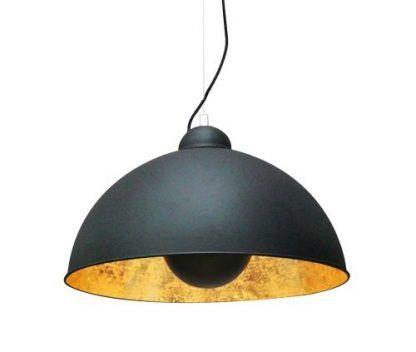 lampa wisząca z dużym kloszem metalowym - miedziana w środku