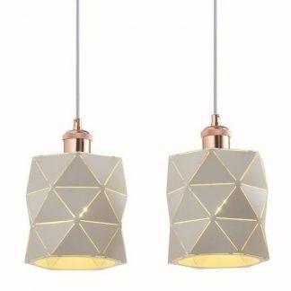 lampa wisząca z dwoma białymi kloszami