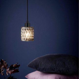 Lampa wisząca z fakturowanego szkła do sypialni