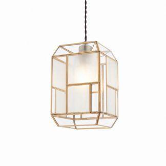lampa wisząca z geometrycznym złotym kloszem