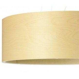 lampa wisząca z jasnym drewnianym abażurem