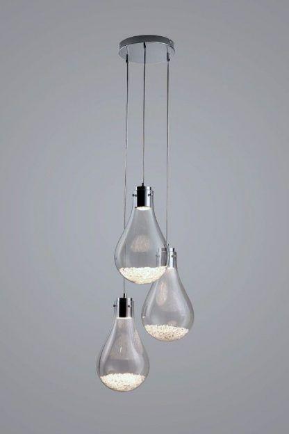 lampa wisząca z kloszami z wypełnieniem kulkami szklanymi